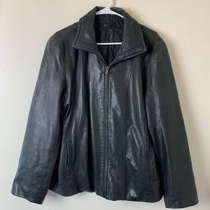 Woman leather winter coat